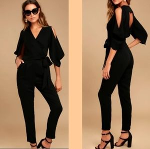 "Adelyn Rae for Lulu's ""Hold Tight"" Black Jumpsuit"